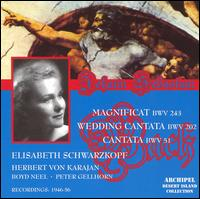 Bach: Magnificat BWV 243; Wedding Cantata BWV 202; Cantata BWV 51 - Elisabeth Schwarzkopf (soprano); Gerald Moore (piano); Giorgio Tadeo (bass); Harold Jackson (trumpet);...