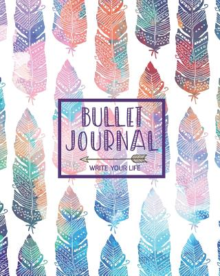 Bullet Journal Dot Grid for 90 Days, Numbered Pages Quarterly Journal Diary, Bohemian Feather African Colorful Tribal: Large Bullet Journal 8x10 with 150 Blank Dot Grid Pages with Number - Artistic Notebooks