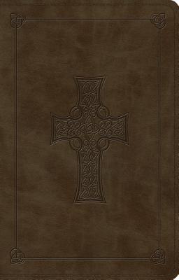 ESV Large Print Thinline Reference Bible (Trutone, Olive, Celtic Cross Design) -