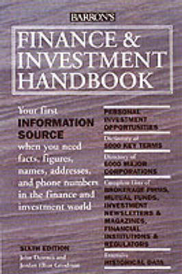 Finance and Investment Handbook - Downes, John, and Goodman, Jordan Elliot