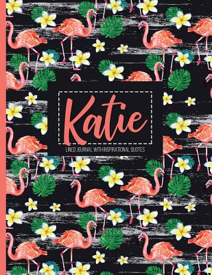 Katie: Black Personalized Lined Journal with Inspirational Quotes - Panda Studio