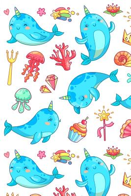 Narwhal Bullet Journal: Super Kawaii Narwhals Dot Grid Notebook with Cupcake Rainbow Heart Crown Shell Magic Wand Ice Cream Shooting Stars Jellyfish Coral - Cute Dotted Line Notebook for Narwhal Lovers - Dots Notepad for Girls Boys Kids (120 Pages 6 X 9) - Narwhal Notebooks