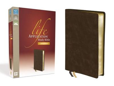 NIV, Life Application Study Bible, Second Edition, Large Print, Bonded Leather, Brown - Zondervan