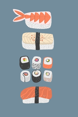 Notes: A Blank Squared Paper Journal with Stack of Sushi Cover Art - Squirrell, Nic