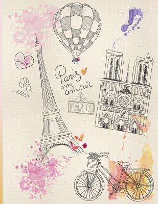 Paris Mon Amour: Dotted Bullet Journal/Notebook, Dot Grid Notebook, Bullet Journal Masterpiece Notebooks XL 8.5x11, 110 Pages, Bullet Journal for Beginners - Panda Studio