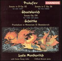Prokofiev: Sonata in D; Sonata in C; Shostakovich: Sonata; Schnittke: Praeludium in Memorian D. Shostakovich - Clifford Benson (piano); Emma Young (violin); Lydia Mordkovitch (violin)