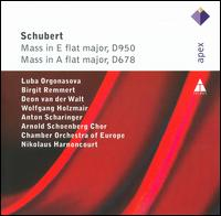 """Schubert: Mass in A flat major, D678 """"Missa Solemnis""""; Mass in E flat major, D950 """"Missa solemnis"""" - Anton Scharinger (bass); Birgit Remmert (alto); Deon Van der Walt (tenor); Luba Orgonasova (soprano);..."""